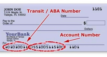 ABA Bank Routing Transit Numbers for Banking and Financial Institutions